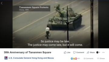 US Consulate General video commemorating Tiananmen Massacre. Photo: Screenshot.