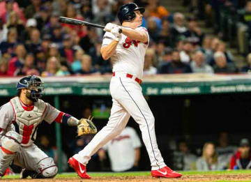 CLEVELAND, OH - AUGUST 24: Jay Bruce #32 of the Cleveland Indians hits a solo home run during the sixth inning against the Boston Red Sox at Progressive Field on August 24, 2017 in Cleveland, Ohio. (Photo by Jason Miller/Getty Images)