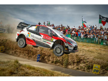 WRC第7戦ラリー・ポルトガルで優勝したチームトヨタのオィット・タナック/マルティン・ヤルヴェオヤ組のヤリスWRC 8号車