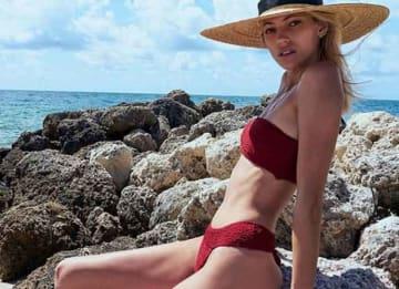 Victoria's Secret Model Devon Windsor Shows New Swim Line During Weekend Getaway
