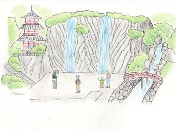 2本の滝を再現する事前調査のイメージ図(岐阜市教育委員会提供)