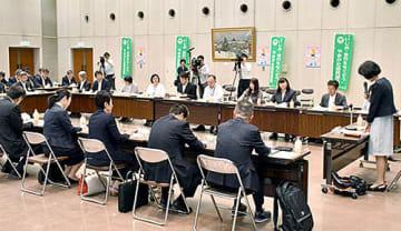 いじめに関する調査結果の報告などが行われた県いじめ問題対策連絡協議会の会合=県庁