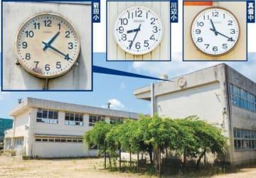 西日本豪雨で止まった時計(写真左上)が掛かる倉敷市真備町地区の箭田小校舎(同下)。同町地区では真備中(同右上)、川辺小(同中央上)でも時計が止まったまま残され、それぞれの状況を物語る=いずれも5日撮影