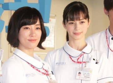 連続ドラマ「白衣の戦士!」の主演を務める水川あさみさん(左)と中条あやみさん