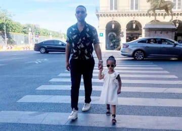 John Legend Strolls The Streets Of Paris With Daughter Luna Legend
