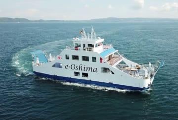 試験航行するe-Oshima(大島造船所提供)