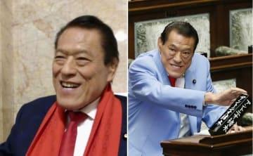 記者団の取材に応じるアントニオ猪木参院議員(左)=2019年6月7日、国会 参院本会議に臨むアントニオ猪木参院議員(右)=2019年6月5日