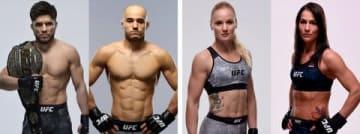 「UFC238」に出場する(左から)ヘンリー・セフード選手、マルロン・モラエス選手、ヴァレンティーナ・シェフチェンコ選手、ジェシカ・アイ選手(C)GettyImages