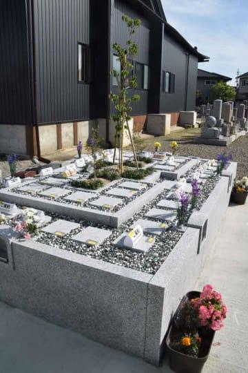 4月末にオープンした樹木葬墓地。4~5月になるとハナミズキやドウダンツツジの花が咲くという(滋賀県彦根市栄町1丁目・蓮成寺)