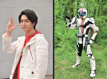 稲葉友演じる、詩島剛(左)と変身後の仮面ライダーマッハ(右)