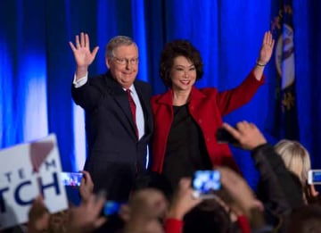 LOUISVILLE, KY - NOVEMBER 4: U.S. Sen. Mitch McConnell (R-KY) celebrates with his wife Elaine Chao at his election night event November 4, 2014 in Louisville, Kentucky. McConnell defeated Kentucky Secretary of State Alison Lundergan Grimes....