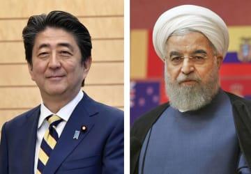 安倍晋三首相、イランのロウハニ大統領(AP=共同)