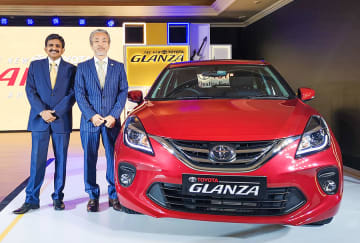 Toyota launches the Glanza hatchback, built by its global partner Suzuki, for the Indian market in New Delhi on Thursday.