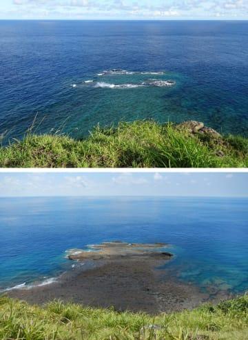 沖縄県・与那国島にある岩「トゥイシ」の満潮時(上)と干潮時の様子=2017年7月(国土地理院提供)