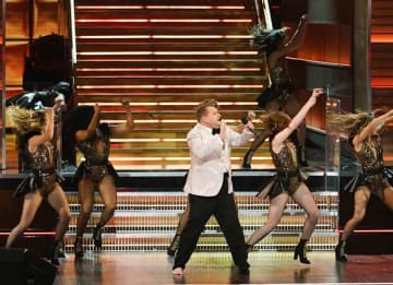 James Corden raps at opening of Grammys 2017: LOS ANGELES, CA - FEBRUARY 12: Host James Corden (C) speaks onstage during The 59th GRAMMY Awards at STAPLES Center on February 12, 2017 in Los Angeles, California. (Photo by Kevin Winter/Getty...