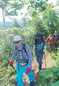 頂上を目指して昆布岳の登山道を歩く参加者(豊浦町教育委員会提供)