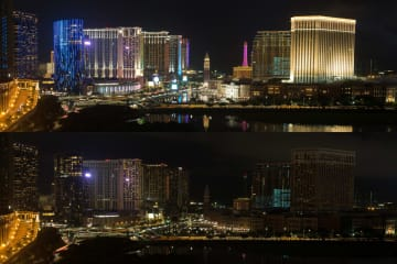 省エネキャンペーンの一環として実施された1時間の消灯イベント。上が消灯前、下が消灯中=マカオ・コタイ地区(写真:GCS)