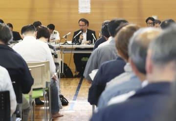 8日、秋田市で開かれた「イージス・アショア」配備の住民説明会