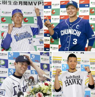 5月の月間MVP 左上から時計回りでDeNAの今永投手、中日の高橋内野手、ソフトバンクの千賀投手、西武の秋山外野手