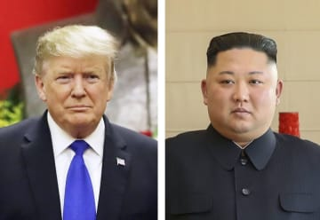 トランプ米大統領(AP=共同)、北朝鮮の金正恩朝鮮労働党委員長(新華社=共同)