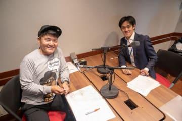 奥野祐次さん(右)とパーソナリティの丸山茂樹