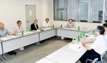 共産党公認の野党統一候補への対応を話し合った5者協議=6月11日、福井県教育センター