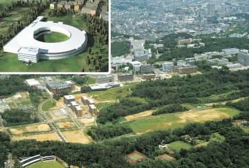 次世代型放射光施設のイメージ図(左上)と建設用地(光科学イノベーションセンター提供)