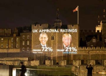 British Group Trolls Trump By Projecting Obama Approval Ratings Onto Tower Of London
