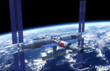 中国が計画する独自の宇宙ステーション「天宮」の完成予想図(国連宇宙部提供)