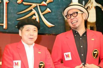 漫才コンテスト「M-1グランプリ2019」の開催会見に登場した森田まさのりさん(左)と長田悠幸さん