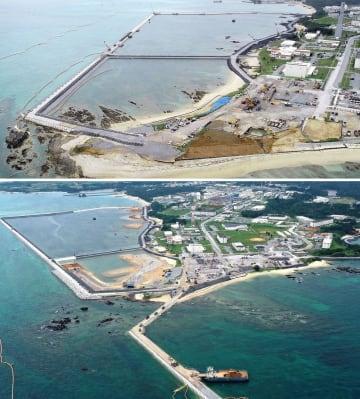 (上)昨年12月13日土砂投入前に撮影した名護市辺野古沿岸部(下)6月13日に撮影した名護市辺野古沿岸部。上は護岸で囲まれた区域に土砂投入が進み、「K8」護岸が新設されている