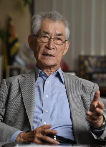 インタビューに応じる京都大の本庶佑特別教授