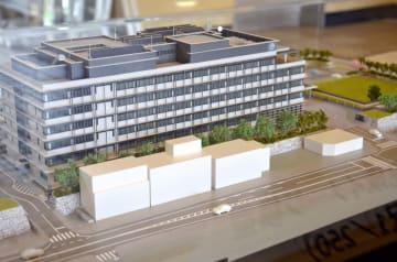 唐津市が展示する新庁舎の模型=市役所本庁舎1階