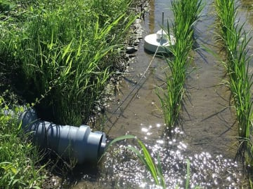 田んぼの水を自動で止める止水装置