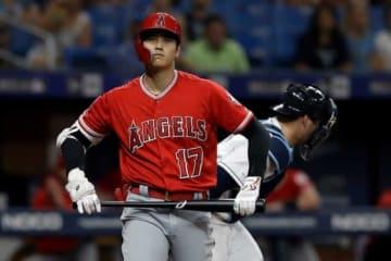 第2打席、押し出しとなる四球を選んだエンゼルス・大谷翔平【写真:AP】