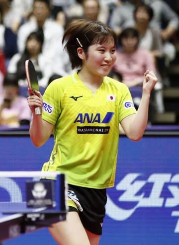 女子シングルスで準決勝進出を決め、喜ぶ平野美宇=北海きたえーる
