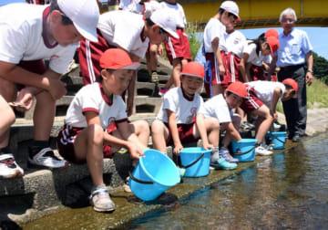 アユを馬淵川に放流する児童