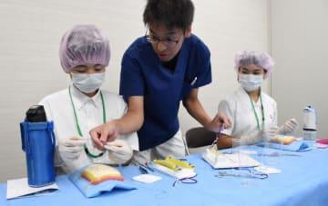 外科実技体験などを行った都城泉ケ丘高付属中の生徒