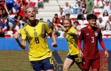 サッカーの女子W杯フランス大会第10日、1次リーグF組でタイからゴールを奪い、喜ぶスウェーデンの選手たち=16日、ニース(ロイター=共同)