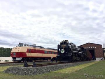6月14日から16日にかけて相次いで「道の駅あびらD51ステーション」に搬入され、載線した国鉄色のキハ183 214(左)とD51 320(右)。D51 320は背後にある「追分機関庫」と称した車庫に入る。