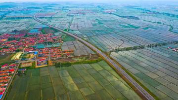 空から見た水田 遼寧省丹東市