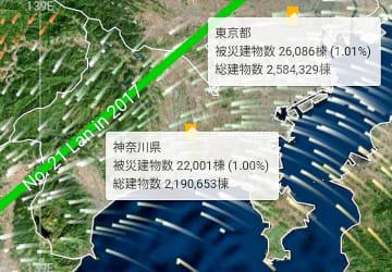首都圏を直撃した2017年の台風21号による建物被害を予測した「cmap.dev」の画面