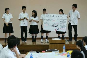 中津青年会議所が初めて企画。第1回ワークショップで意見を発表する高校生=中津市