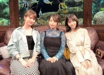 6月18日深夜に放送されるガールズトークバラエティー番組「グータンヌーボ2」に出演する(左から)菜波さん、宇垣美里さん、西野七瀬さん=カンテレ提供