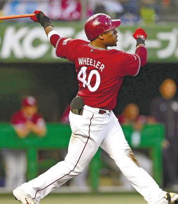 4回東北楽天1死一塁、ウィーラーが左越えに2ランを放ち通算100本塁打を達成