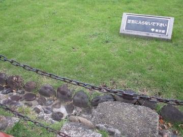 溝まで設けて立ち入りを拒絶する芝生(東京・日比谷公園)