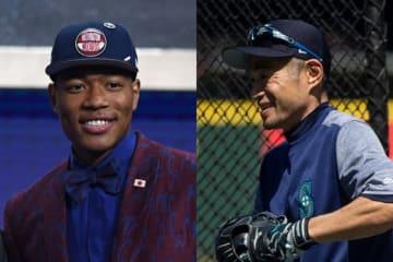 日本人史上初となるNBAドラフト1巡目指名を受けた八村塁(左)とイチロー氏【写真:Getty Images】