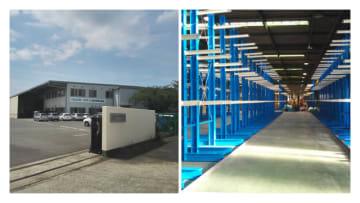 今年5月21日に新設した名古屋工場外観(左)と新導入した4段積み・腕の短い物流ラック(右)