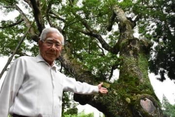 オガタマノキの巨木(後方)の謎などを本に記した園田さん