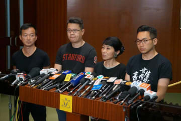 Ray Chan (left), Andrew Wan (centre-left), Claudia Mo (centre-right), Alvin Yeung (right). Photo: Kris Cheng/HKFP.